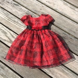 Marmelatta Red And Black Plaid Chiffon Party Dress